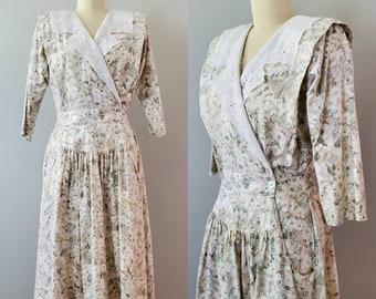 1980s Cotton Market Dress by Sally Lou 80s  Floral Print Dress 80's Women's Vintage Size Medium