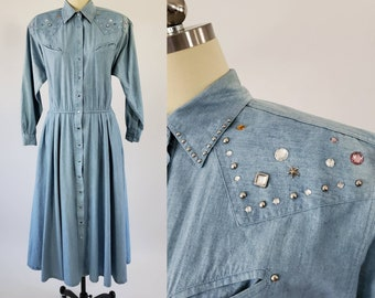 1980s Denim Dress with Studs and Rhinestones by Alain Toussaint 80s Studded Denim Dres 80's Women's Vintage Size Large