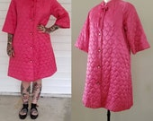 1950s Pink Quilted Satin Robe by Sears With Original Tag NOS 50s Lingerie 50 39 s Sleepwear Women 39 s Deadstock Vintage Size Small