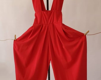 1980's Suspender Jumpsuit by EXPO 80's Jumper 80s Women's Vintage Size Small / Medium