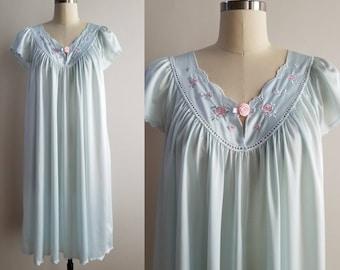 3540fc8d9 1980 s Blue and Pink Nightgown by Shadowline 80 s Loungewear Women s Sleepwear  Vintage 80s Lingerie Nightie Women s Vintage Size Small