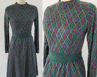 1960s Day Dress with Suede Belt from POSH by Jay Anderson 60s Dresses 60's Women's Vintage Size Medium