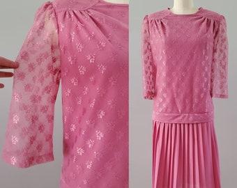 1980s Does 1920s Drop Waist Dress in Bubblegum Pink 80s Party Dress 80's Women's Vintage Size XL