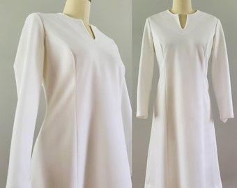 1970's Vintage GoGo Dress in Stark White by Forever Young 70's Mod Dress 70s Women's Vintage Size XL