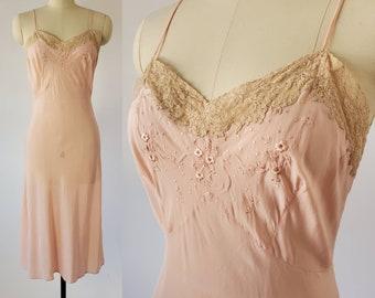 1940s Pink Slip with Beige Lace Trim 40s Lingerie 40's Women's Vintage Size Medium