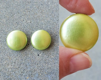 1950s Lime Green Button Earrings 50's Jewelry 50s Clip-on Earrings