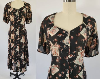 1990s Dress with Ephemera Print Dress 90s Dress 90's Women's Vintage Size XL