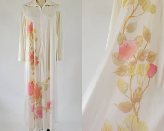 1970's Kayser Robe with Beautiful Floral Print 70s Sleepwear 70's Loungewear Women's Vintage Size Medium