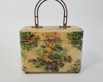1960's Wooden Box Purse with Bird Theme Decoupage and Ball Latch Clasp 60s Purse 60's Handbag