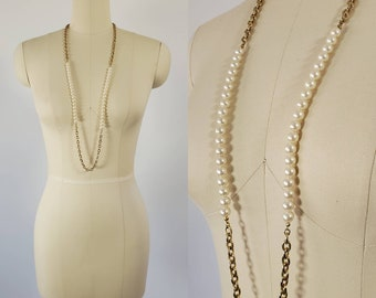 1970's Long Faux Pearl and Chain Necklace 70's Accessories 70s Boho Chic Jewelry