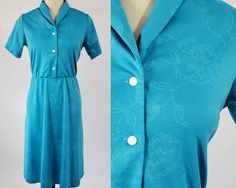 1970s Does 1950s Floral Dress 70's Dress 70s Women's Vintage Size Medium