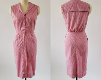 1950's Cotton Day Dress with Sailor Collar and Polka Dot Print 50's Dress 50s Women's Vintage Size Small / Medium