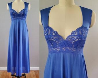 1980's Olga Nightgown with Lace Bodice 80s Lingerie 80's Women's Sleepwear Size Medium