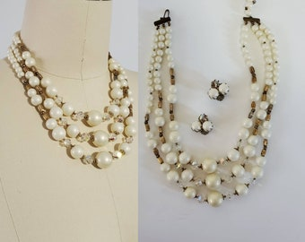 1950's AB Crystals and Faux Pearl Necklace and Clip-on Earrings Set Midcentury Jewelry 50's Accessories 50s Women's Vintage