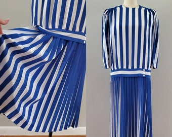 1980s Does 1920s Drop Waist Dress in Blue and White Stripes 20s Party Dress 80's Women's Vintage Size Large