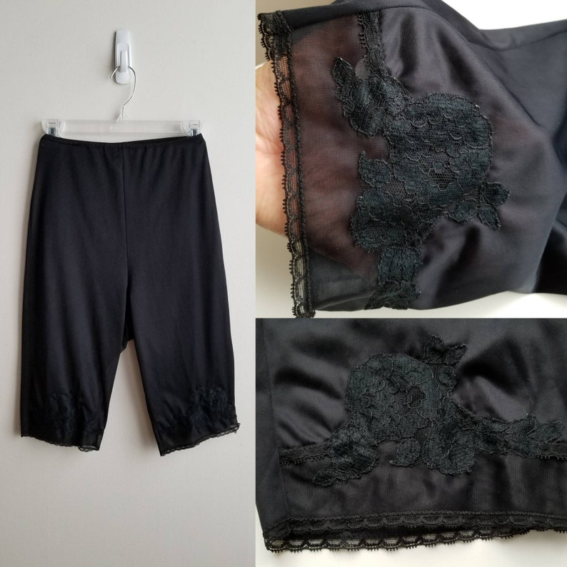 1960/'s High Waist Black Pantaloons  Shorts Slip by Van Roalte 60s Lingerie 60/'s Nylon Pantaloons