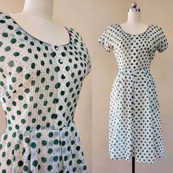 1940s Sheer Polkadot Dress 40s Day Dress 40's Pinu