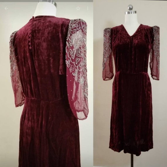 1940s Silk Velvet Dress with Sheer Beaded and Rhin