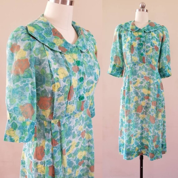 60s Does 30s Cotton Day Dress 60s Handmade Dress 6
