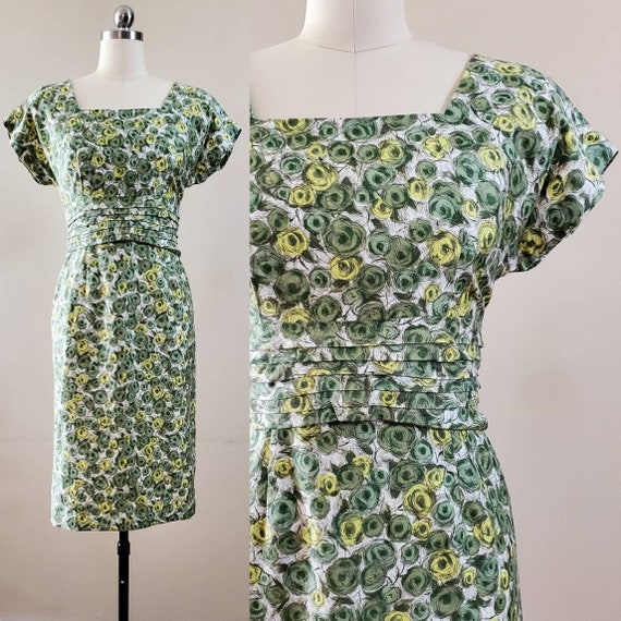 1960s Cotton Wiggle Dress 60s Cotton Day Dress 60'