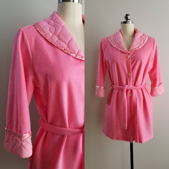 1960s Pink Fuzzy Robe with by Sears 60s Sleepwear