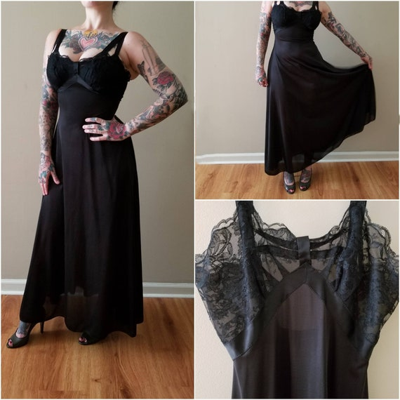 1950's Long Black Nightgown 50's Hand Made Nightgo