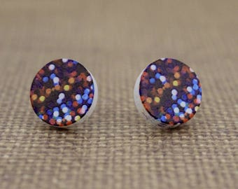 Galaxy Pattern Round Wood Stud Earrings