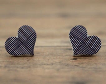 Black & White Stripe Heart Wood Stud Earrings
