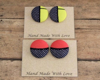Fabric Covered Button Earrings, African Fabric Button Covered  Earrings