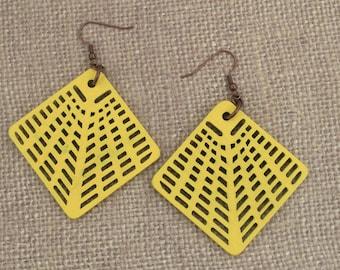 Web Shape Laser Cut Wood Earrings