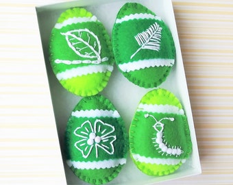 Green Easter Decorations Pysanky Easter Eggs Felt Ornaments Decorated Eggs - Green Eggs Ornaments