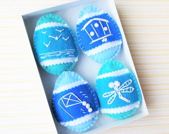 Blue Easter Decorations Pysanky Easter Eggs Felt Ornaments Decorated Eggs - Blue Eggs Ornaments