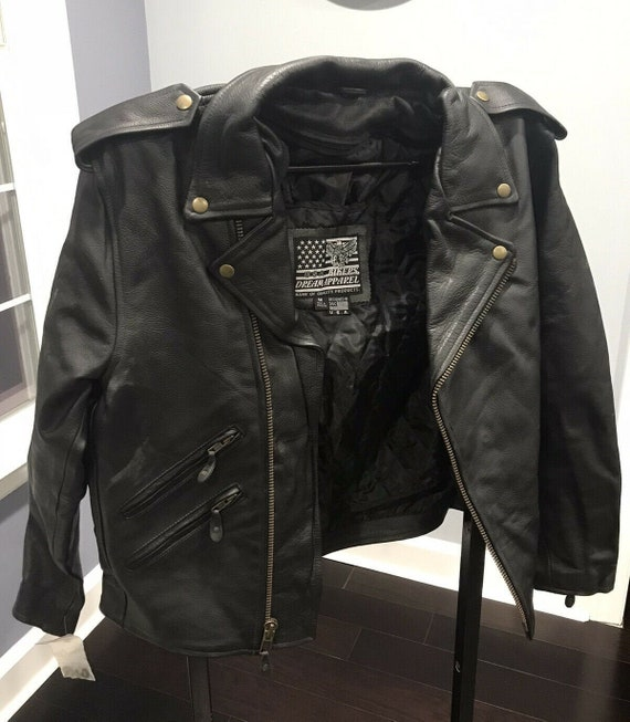New Genuine Leather Motorcycle Jacket men's medium