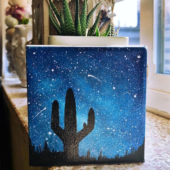 Desert Night Sky Galaxy Painting Mini Canvas Etsy