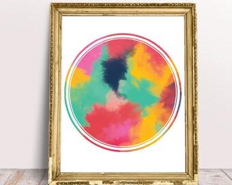 Circle abstract, painting print, modern print, colorful print, colorful abstract, home decor, wall art, mixed media art, living room decor