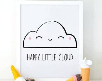Happy little cloud, Lovely Cloud, Cute Cloud, Happy Cloud, Nursery Decor, Nursery Wall Art, Cloud Printable, Nursery Poster, Cloud Wall Art