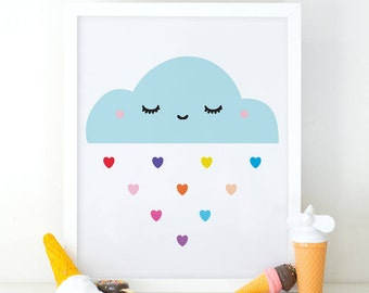 Cloud Print, Lovely Cloud, Cute Cloud, Happy Cloud, Nursery Decor, Nursery Wall Art, Rainbow Cloud Print, Nursery Poster, Cloud Wall Art