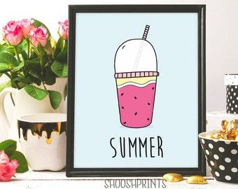 Summer print, Fruit Juice, Drink, Juice, Summer Printable, Printable Wall art,  Summer Art print, Kitchen Art Print, Summer Poster, smoothie