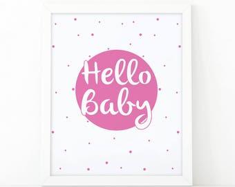 Hello baby, modern wall art, Nursery Wall art, kids wall art, nursery decor, Printable art, scandinavian art, Girls room decor, minimalist