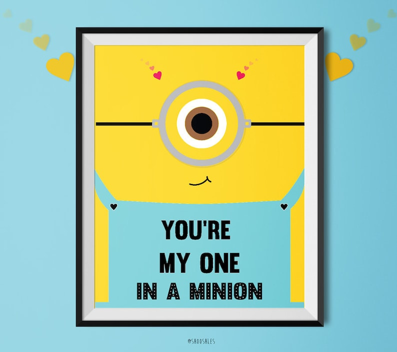 graphic relating to You Re One in a Minion Printable named on your own are my 1 inside a minion !, printable artwork, delight in print, minions, amusing valentine print, valentines working day present, printable wall artwork, valentine