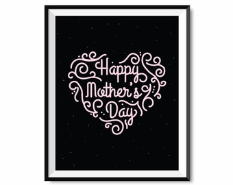 happy mother's day, i love you mom, mother's day print, printable art, digital print, gift idea for mom, mother's day gift, digital print