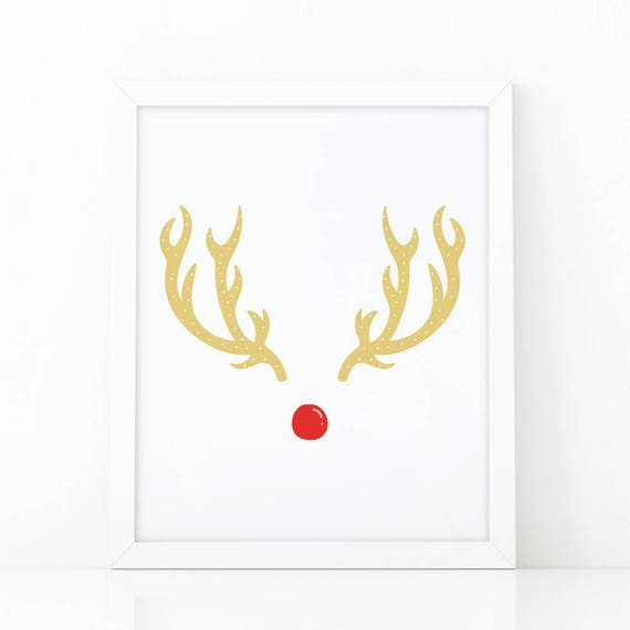 photo regarding Printable Deer Antlers identified as Rudolph print, Deer antlers, reindeer print, Xmas print, Xmas antlers poster, xmas printable, deer print, Chritsmas wall artwork