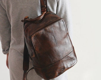 9a1398d07b Chocolate Brown Leather Backpack Brown Backpack Purse Brown Purse Casual  Leather Backpack