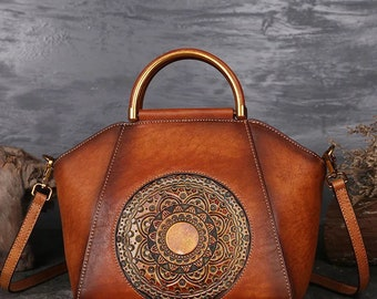 Tooled Leather Bag Hand Tooled Leather Handbag Vintage Leather Tote Embossed  Purse Top Handle Purse  Red Purse Brown Purse Shoulder Purse 446a650cab12e