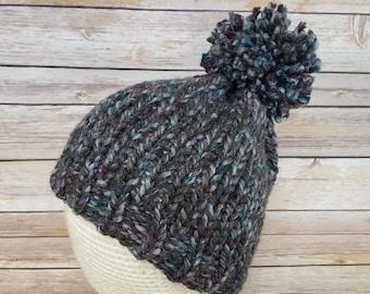 Women's Colorful Gray Beanie Hat, Winter Hat, Women's Hat, Women's Beanie Hat, Gray Beanie, Knitted Hat, Pom Pom Hat