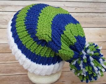 Blue Green Slouchy Hat, Blue Green Sports Team Hat, Seahawks Hat, Knitted NFL Hat, Knitted Seattle Seahawks Hat, Seahawks Beanie