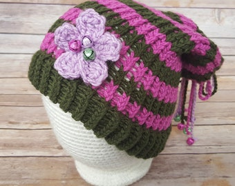 Green Purple Fairy Hat, Fairy Hat, Knitted Fairy Hat, Knit Fairy Hat, Fairy Slouchy, Fairy Lover Hat, Cosplay Fairy Hat, Elf Hat