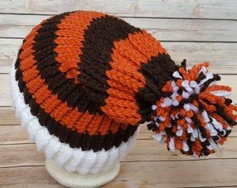 Orange Brown Slouchy Hat, Orange Brown Sports Team Hat, Browns Hat, Knitted NFL Hat, Knit Cleveland Browns Hat, Browns Beanie, Bengals Hat