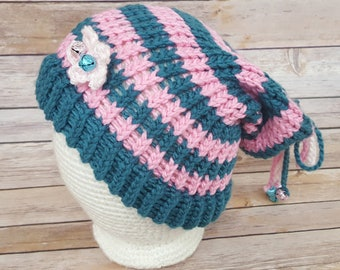 Pink Teal Blue Fairy Hat, Fairy Hat, Knitted Fairy Hat, Knit Fairy Hat, Fairy Slouchy, Fairy Lover Hat, Cosplay Fairy Hat, Elf Hat
