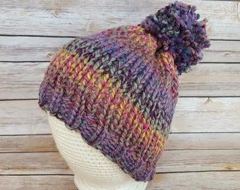 Women's Winter Hat, Colorful Wool Beanie Hat, Pink Purple Female Hat, Colorful Knit Hat, Women's Beanie Hat, Pom Pom Hat
